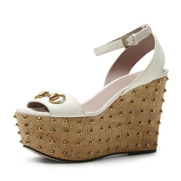 82c63fe947055 Gucci Shoes - GUCCI Studded 6   36.5 Wedge Lilianne Horse Bit
